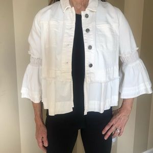 Anthropologie White Jean Jacket size small